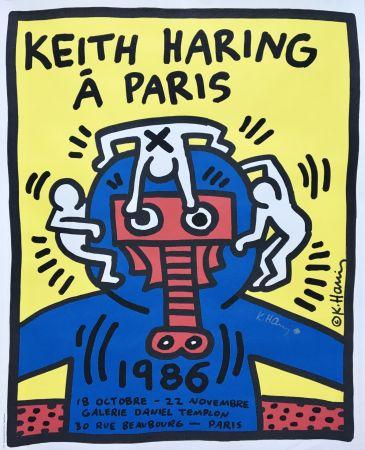 Lithographie Haring - Á Paris (Hand Signed) Rare Original Pop Art Poster Print