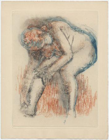 Eau-Forte Et Aquatinte Degas - Étude de nu se massant la cheville (vers 1896)