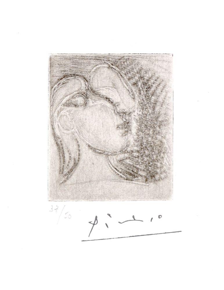 Gravure Picasso - ête de femme tournée à droite