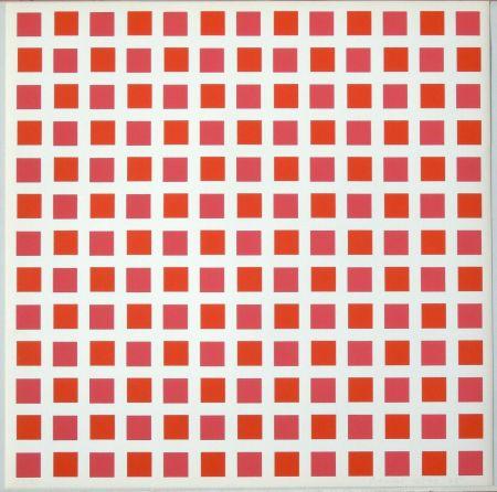 Sérigraphie Morellet - 1 carré rouge 1 carré orange