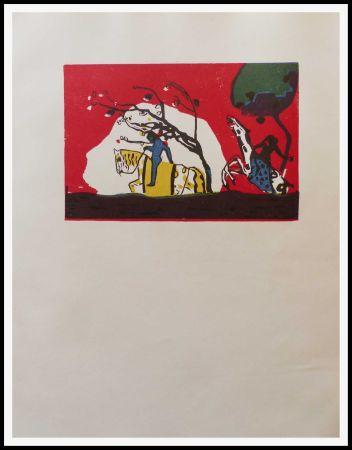 Gravure Sur Bois Kandinsky - 2 CAVALIERS SUR FOND ROUGE