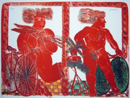 Lithographie Fassianos - 2 cyclistes