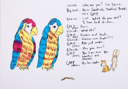 Lithographie Kaga - 2 Genetically modified parrots