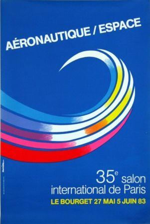 Lithographie Auriac - Aéronautique Espace  Salon du  Bourget
