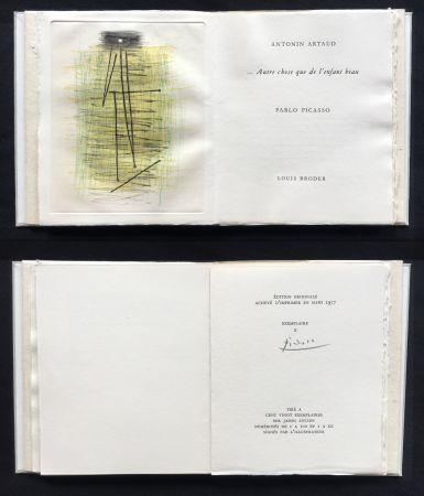Livre Illustré Picasso - A. Artaud: AUTRE CHOSE QUE DE L'ENFANT BEAU. Célèbre gravure originale en couleurs (1957).