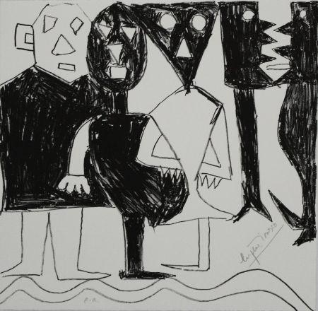 Lithographie Ionesco - A bord de la nef