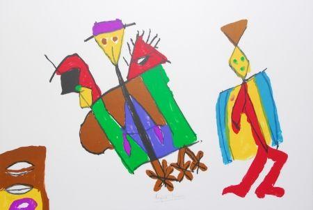 Lithographie Ionesco - A bord de la nef des fous