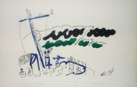 Lithographie Lapicque - A bord d'un destroyer