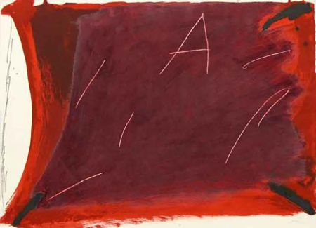 Gravure Tàpies - A Damunt Vermell 1