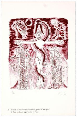 Lithographie Nørgaard - A. Demain tu seras avec moi au Paradis, Joseph et Parciphal, le christ nordique, apporte-moi de l'eau