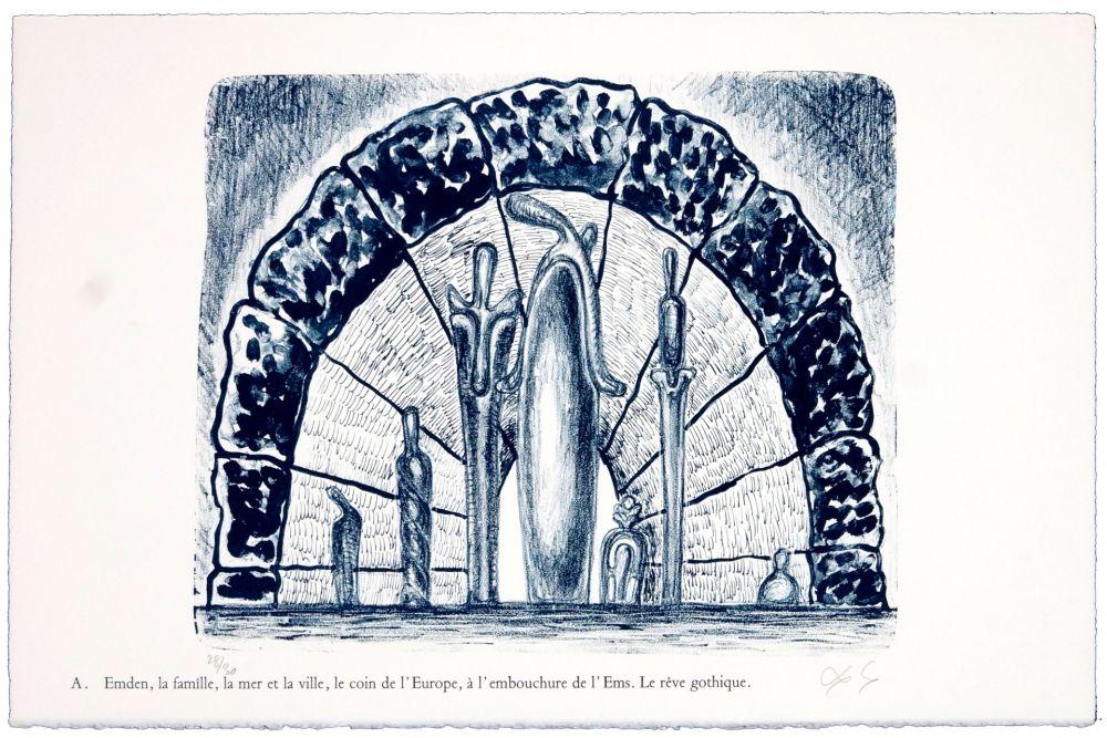 Lithographie Nørgaard - A. Emden, la famille, la mer et la ville, le coin de l'Europe, l'embouchure de l'Ems. Le rêve gothique