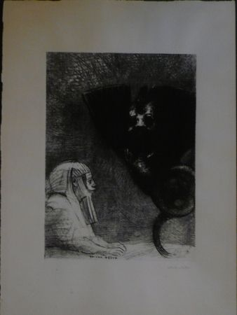 Lithographie Redon - A Gustave Flaubert,le sphinx