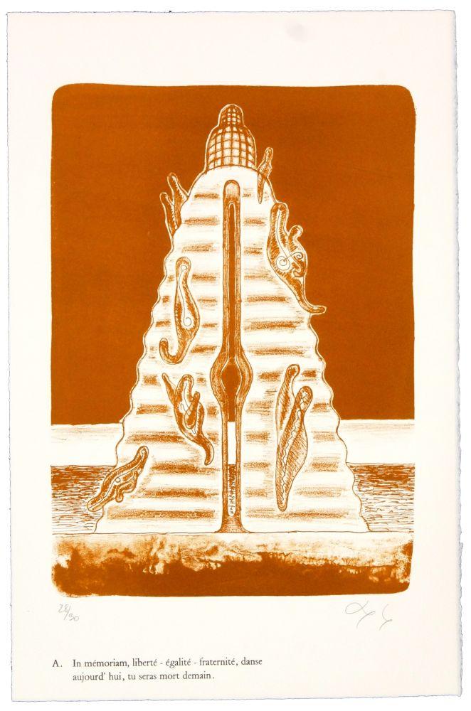 Lithographie Nørgaard - A. In mémoriam, liberté - égalité - fraternité, danse aujourd'hui, tu seras mort demain.