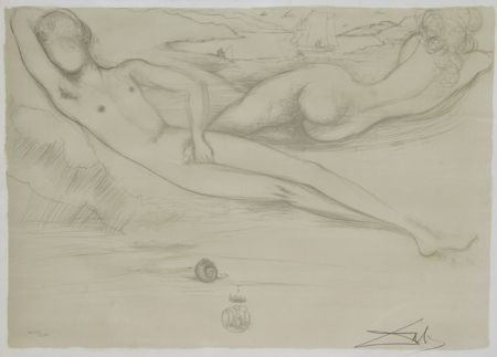Lithographie Dali - A la Plage from the Nudes Suite