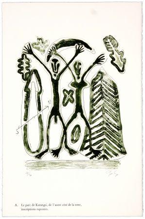 Lithographie Nørgaard - A. Le parc de Kurangsi, de l'autre côté de la terre, inscriptions rupestres