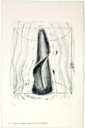Lithographie Nørgaard - A. L'espace sculptural, figure mort-vive, Iphygénie.