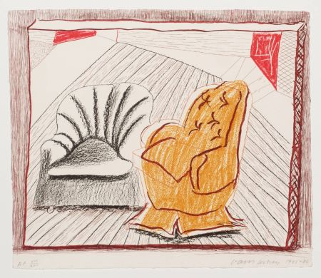 Lithographie Hockney - A Picture of Two Chairs