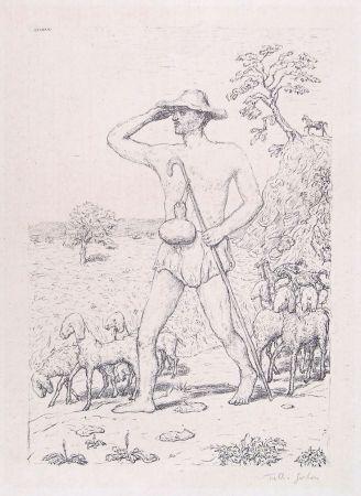 Lithographie Garbari - A SHEPHERD