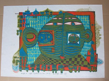 Lithographie Hundertwasser - Abschied aus Afrika