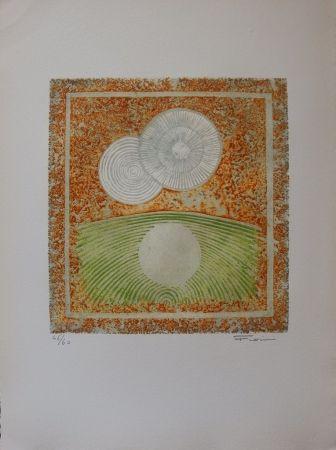 Eau-Forte Et Aquatinte Fiorini - Abstraction aux deux soleils