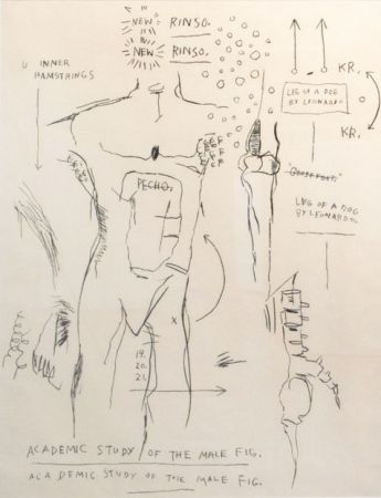 Sérigraphie Basquiat - Academic Study of the Male Figure