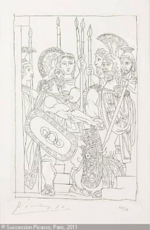 Gravure Picasso - Accord Entre les Guerriers de Sparte et d'Athens