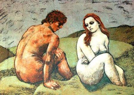 Lithographie Messina - Adamo ed Eva