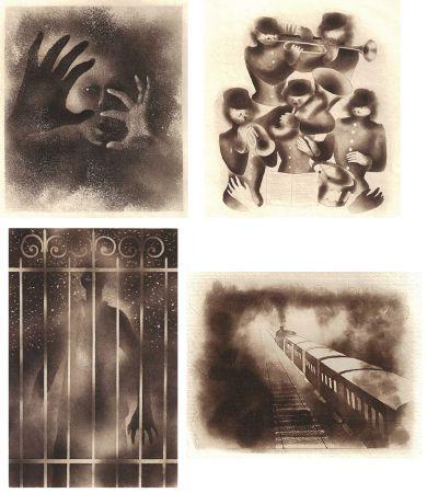 Livre Illustré Alexeïeff - ADRIENNE MESURAT. Exemplaire avec 68 dessins originaux au crayon tous signés par Alexeieff.