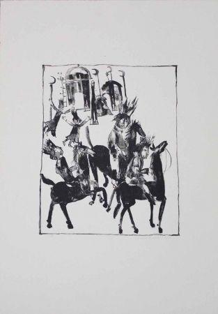 Lithographie Pyroth - Adschîb, Gharîb und Kâsim machen sich auf den Weg