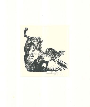 Gravure Sur Bois Klemm - Affen jagen den Wolf
