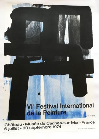 Lithographie Soulages - Affiche expo 74