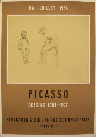 Affiche Picasso - Affiche exposition dessins 1903-1907 galerie Berggruen