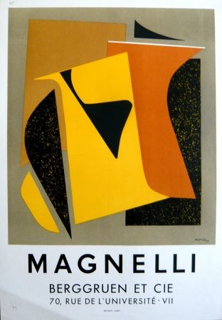 Lithographie Magnelli - Affiche exposition galerie Berggruen Mourlot