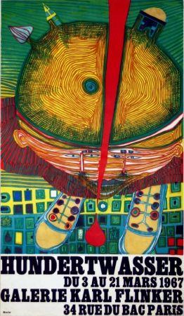 Lithographie Hundertwasser - Affiche Exposition Galerie Karl Flinker 1967