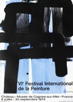 Lithographie Soulages - Affiche lithographie exposition cagnes/mer