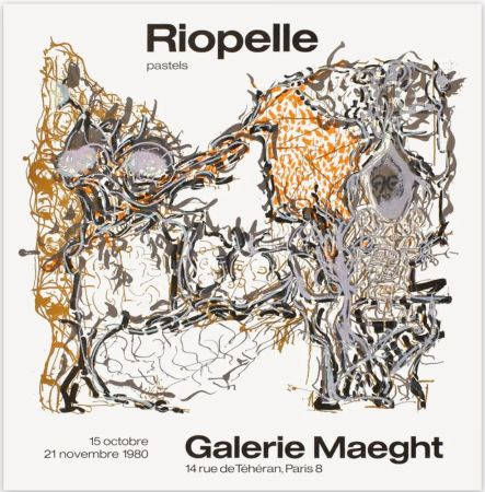 Affiche Riopelle - Affiche lithographique originale de la Galerie Maeght 1980.