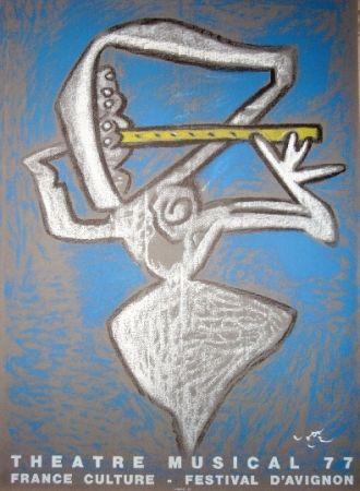 Lithographie Matta - Affiche pour le théâtre municipal musical, France culture, Festival d'Avignon.