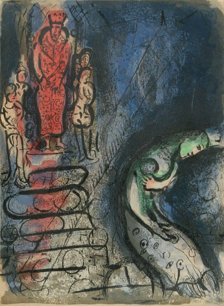 Lithographie Chagall - Ahaseurus Banishes Vashti from