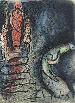 Lithographie Chagall - Ahasuerus sends Vasthi away