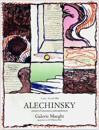 Affiche Alechinsky - ALECHINSKY TRAVAUX D'IMPRESSION, PRINCIPALEMENT.  Galerie Maeght 1980. Affiche originale en lithographie.