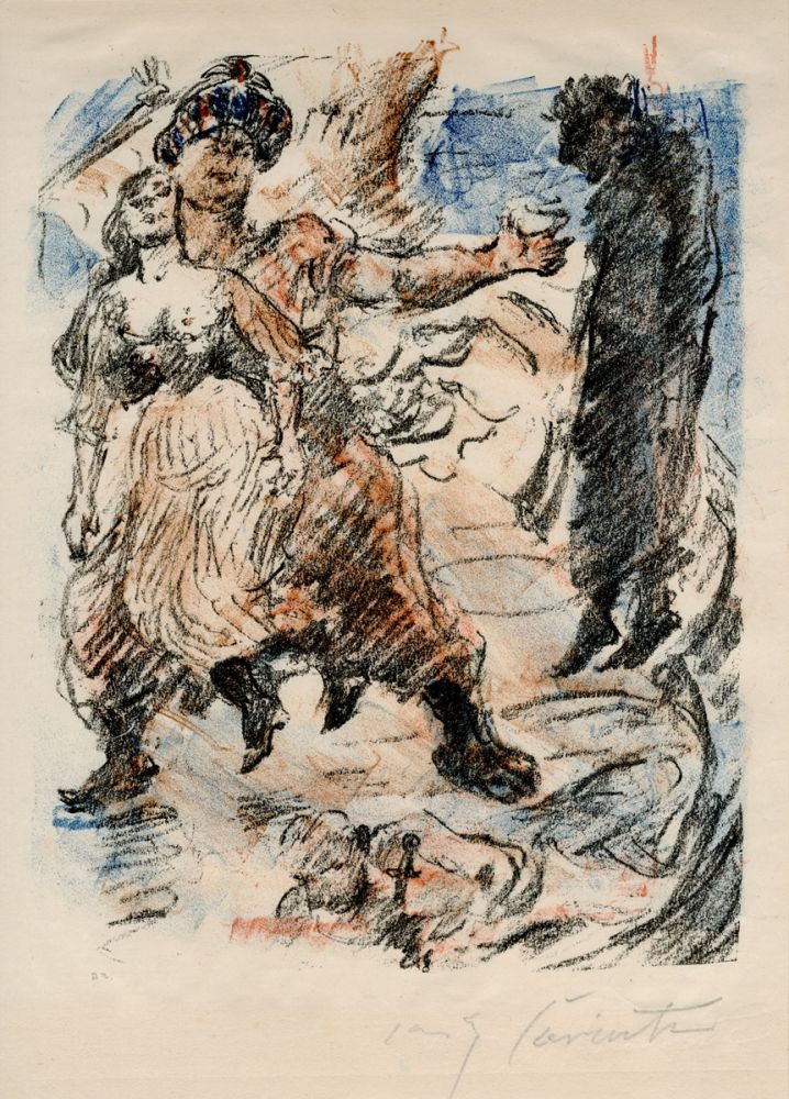 Lithographie Corinth - Aline fällt in die Hand der Korsaren