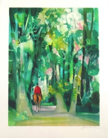 Lithographie Hilaire - Allee forestiere