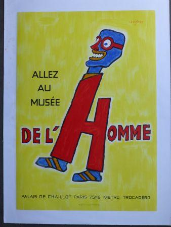 Affiche Savignac - Allez au musée de l'homme