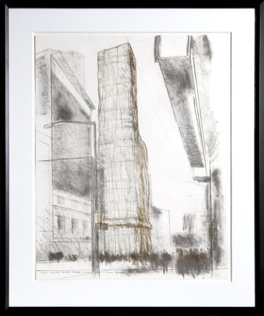 Lithographie Christo - Allied Chemical Tower, Packed, Project for Number 1 Times Square from