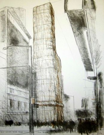 Lithographie Christo - Allied chemical tower packed time square