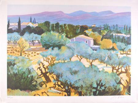 Lithographie Deluca - Alpilles