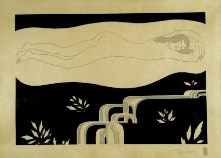 Gravure Sur Bois Czeschka - Am Bache (At the brook)