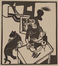 Gravure Sur Bois Campendonk - Am Tisch Sitzende Frau Mit Katze Und Fisch / Woman Sitting At Table With Cat And Fish