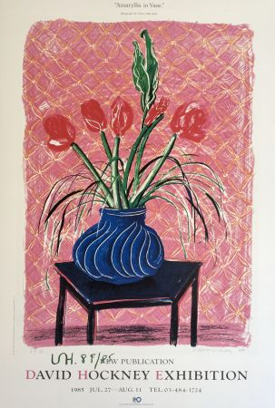 Lithographie Hockney - 'Amaryllis in Vase' Hand Signed Exhibition Poster 1985