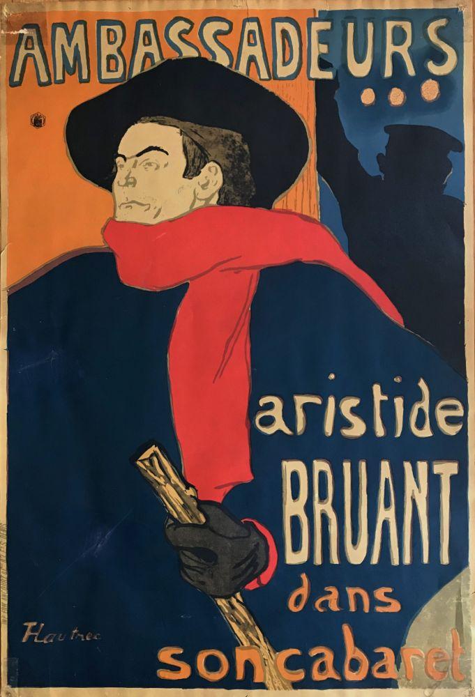 Lithographie Toulouse-Lautrec - Ambassadeurs - Aristide Bruant dans son cabaret (création 1892)